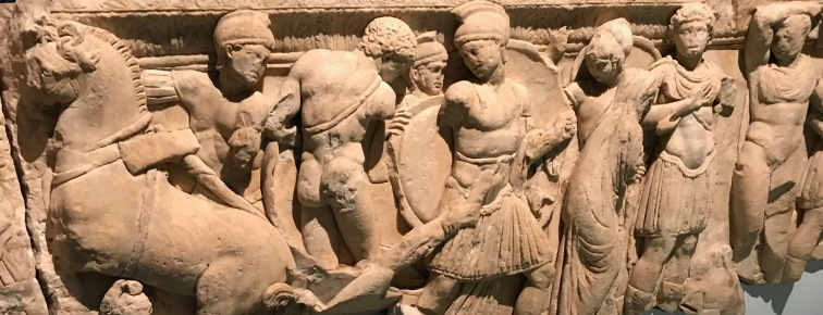 Achilles drags the corpse of Hector